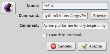 Añadiendo el lanzador en el menú de Trisquel para ReTux