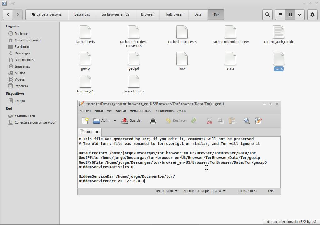 El archivo <code>torrc</code> configurado para ofrecer un servicio oculto