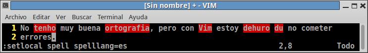 Corrector ortográfico en Vim