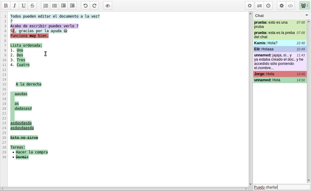 edición de texto colaborativa con Etherpad