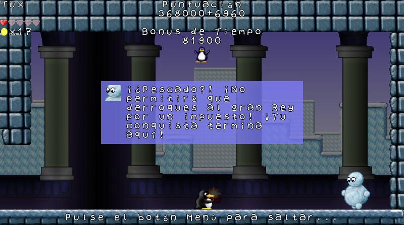 Imagen de Tux en un castillo contra un enemigo final