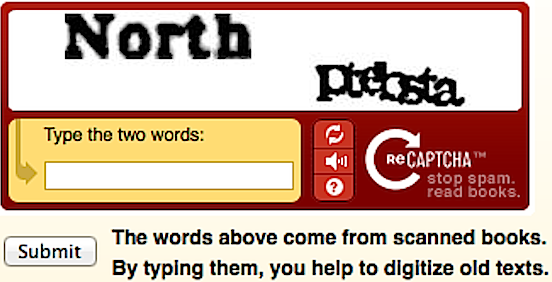 reCAPTCHA used to digitalize texts