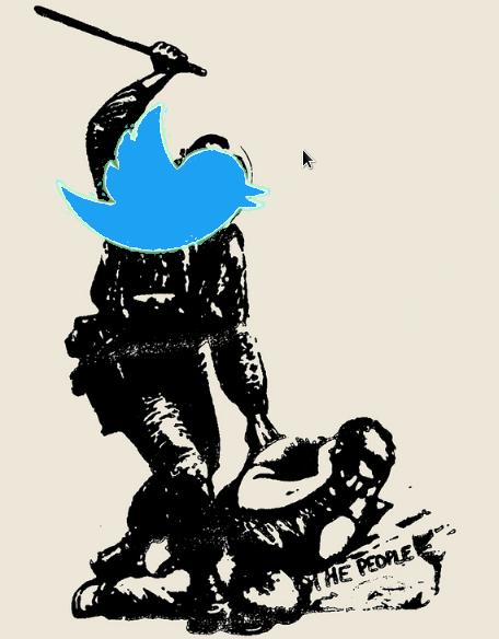 Una policia con la cara de la mascota de Twitter golpeando con una porra a una persona indefensa