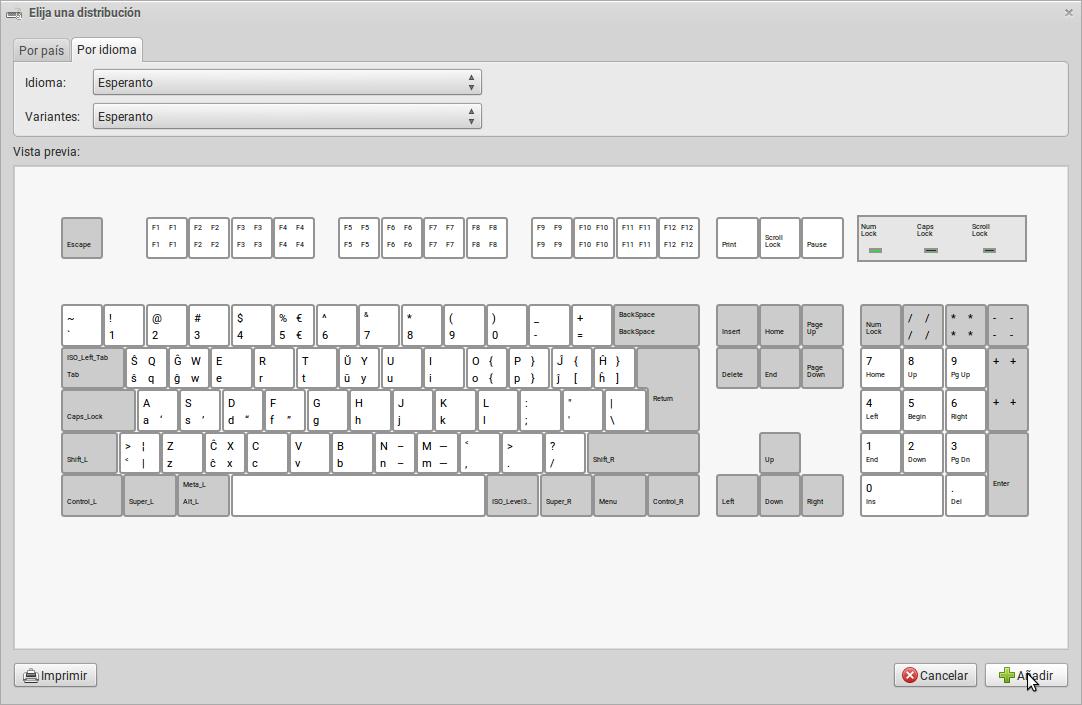 Seleccionando la distribución de teclado de esperanto desde la pestaña de idioma.