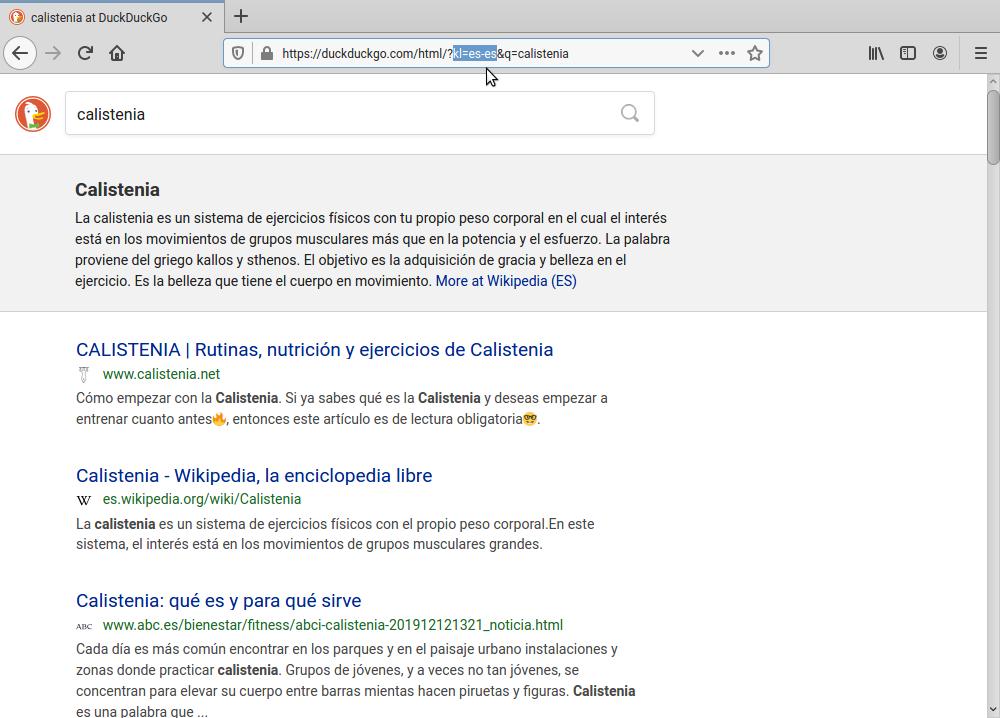 Busco «calistenia», y me muestra resultados en español