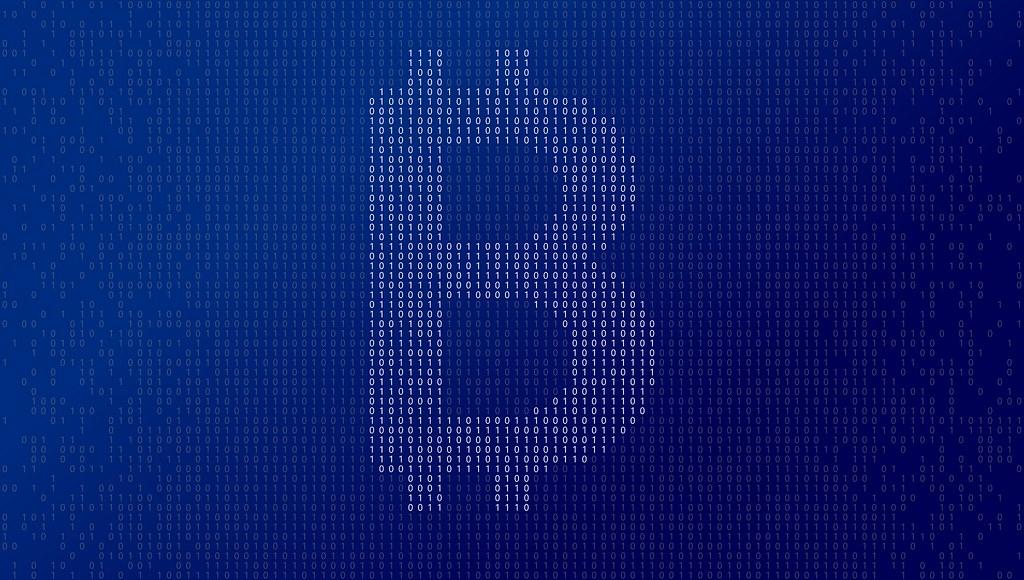 Símbolo de Bitcoin con unos y ceros