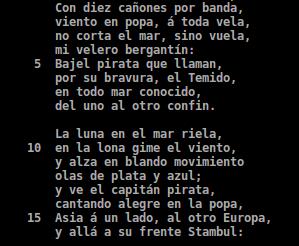 Canción del pirata numerada cada 5 versos